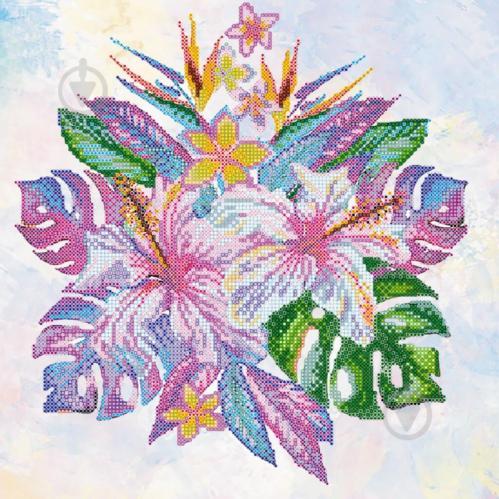 Схема для вишивання бісером на художньому полотні Тропічні квіти AC-353  300x300 мм Абрис Арт abd9b96b13c43