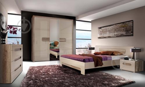Ліжко Forte Meble Tiziano TZML160 T17 160x200 см дуб античний/бежевий глянець - фото 2