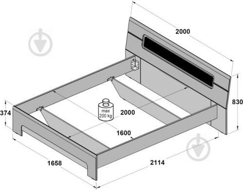 Ліжко Forte Meble Tiziano TZML160 T17 160x200 см дуб античний/бежевий глянець - фото 3