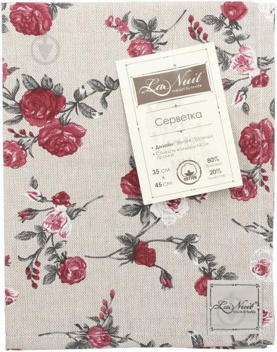 Серветка La Nuit Вінтаж Троянди 35x45 см бежевий із червоним - фото 4