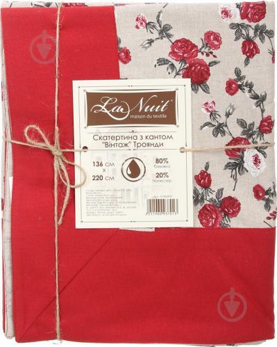 Скатертина Вінтаж Троянди з кантом 136x220 см бежевий із червоним La Nuit - фото 3