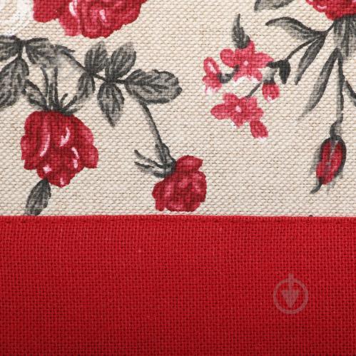 Скатертина Вінтаж Троянди з кантом 136x220 см бежевий із червоним La Nuit - фото 2