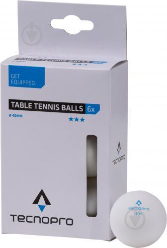Мячи для настольного тенниса TECNOPRO 3 Star TT-Ball-6 white 66964