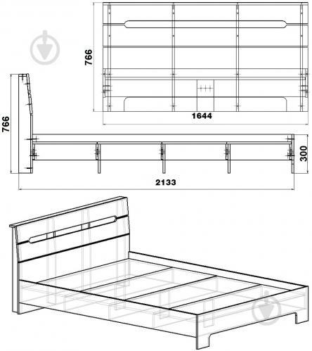 Ліжко Компаніт Стиль-160 160x200 см німфея альба - фото 3