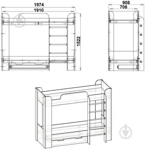 Кровать Компанит Твикс-2 70х190 см нимфея альба - фото 3