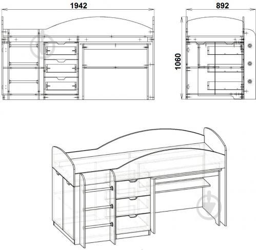Ліжко-гірка Компаніт Універсал 70х190 см німфея альба - фото 3