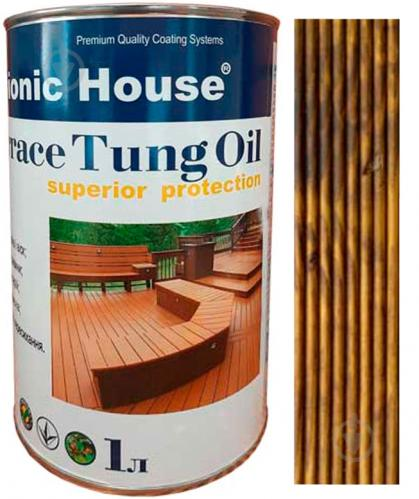 Масло тунговое Bionic House для террас Terrace Tung Oil орех 1 л - фото 1