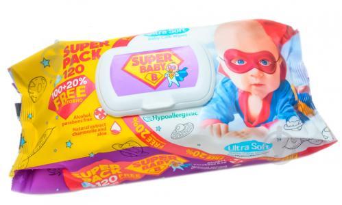 Дитячі вологі серветки Super Baby Ultra Soft 120 шт. - фото 1