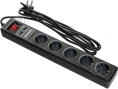 Фільтр-подовжувач REAL-EL REAL-EL із заземленням 5 гн. чорний 1,8 м RS-5 USB CHARGE 1.8m, black - фото 1