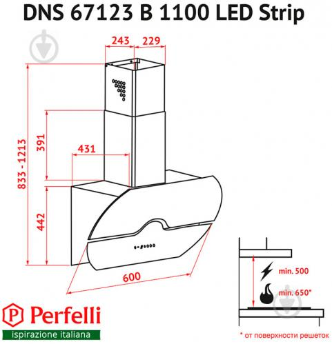 Витяжка Perfelli DNS 67123 B 1100 BL LED Strip - фото 9