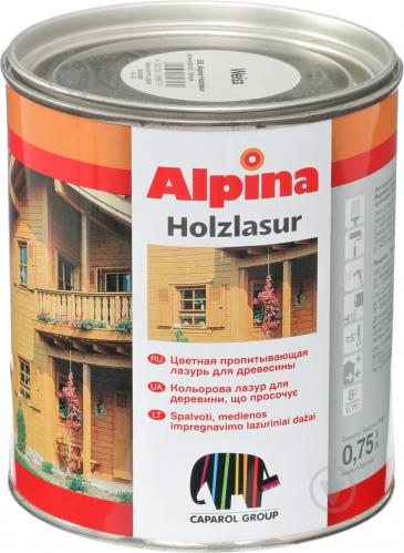 Лазурь Alpina HOLZLASUR белый шелковистый мат 0,75 л - фото 1