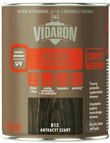 Бейц Vidaron для древесины серый антрацит В12 мат 0,75 л - фото 1
