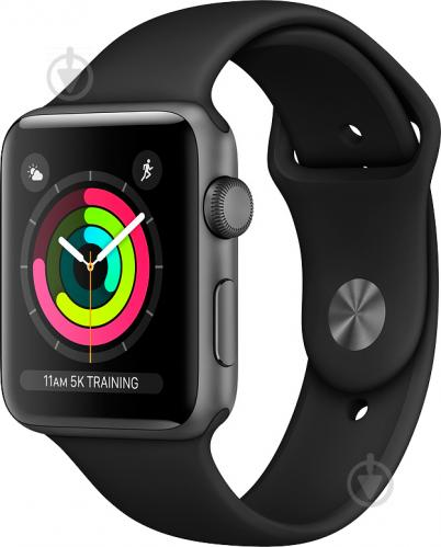 Смарт-часы Apple Watch Series 3 GPS 42 мм space grey Aluminium Case with Black Sport Band (MTF32FS/A) - фото 1