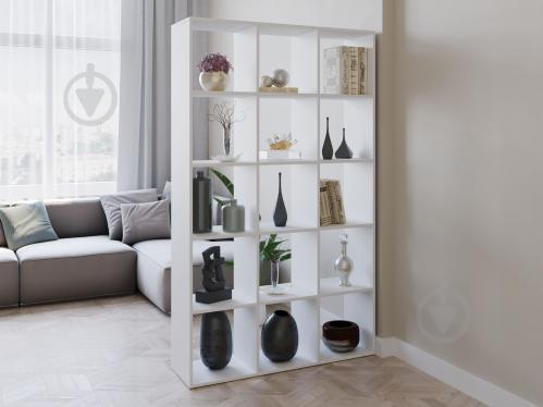 Полка для книг стеллаж для дома на 15 ячеек Rimos 1072x1776x300 мм Белый (Z-37_B) - фото 1