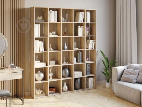 Полка для книг стеллаж для дома на 30 ячеек Rimos 1776x2128x300 мм Дуб Сонома (Z-43_D) - фото 1