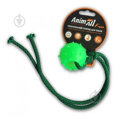 Іграшка для собак AnimAll Куля з канатом 4 см зелена 88175 - фото 1