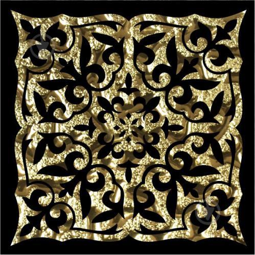 Плитка Grand Kerama Тако скло Ніч золото рифлене 2051 8x8 - фото 1