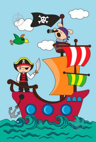раскраска по контурам рисовалка пиратский корабль Rosa Kids