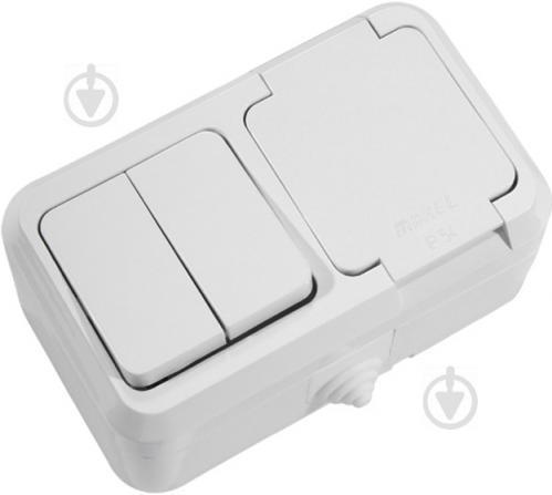 Розетка + вимикач із заземленням Makel IP44 без шторок з кришкою білий 18351 - фото 1