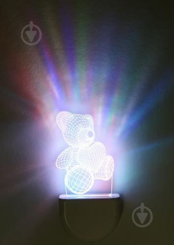 Нічник Aukes Ведмежатко 3D LED RGB 0.5 Вт білий