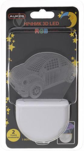 Нічник Aukes Машинка 3D LED RGB 0.5 Вт білий - фото 4