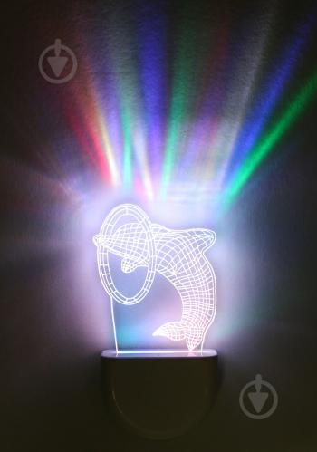 Нічник Aukes Дельфін 3D LED RGB 0.5 Вт білий - фото 1