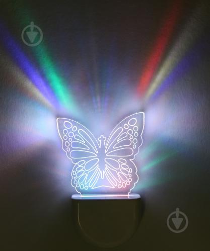 Нічник Aukes Метелик 3D LED RGB 0.5 Вт білий - фото 1