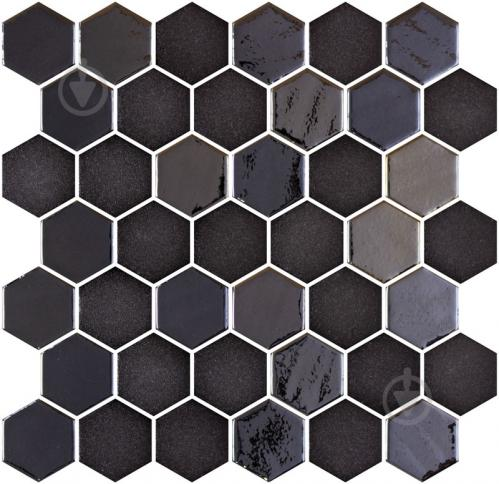 Плитка Onix Hex XL Stoneglass Opalo Black (BLISTER) 28,6x28,4 - фото 1