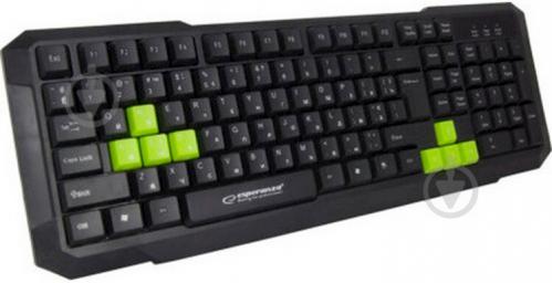 Клавіатура Esperanza Wired EGK102 Green USB (EGK102GUA) black/green - фото 1