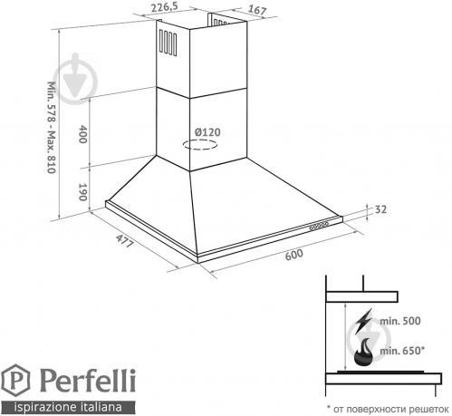 Витяжка Perfelli K 6212 C WH 650 LED - фото 8