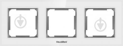 Рамка трехместная HausMark Alta универсальная белое стекло SNG-FRG.SQ20G3-WH