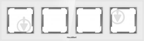 Рамка четырехместная HausMark Alta универсальная белое стекло SNG-FRG.SQ20G4-WH - фото 1