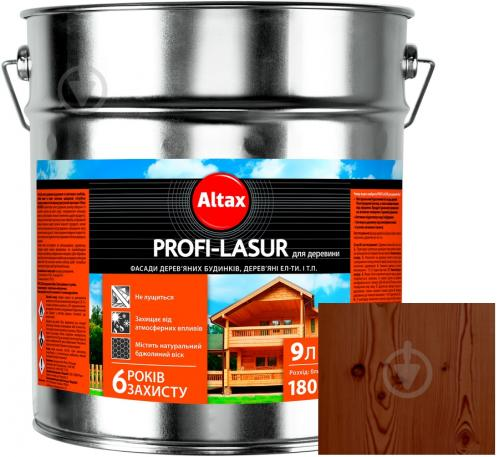 Лазурь Altax Profi-Lasur палисандр бронз шелковистый мат 9 л - фото 1
