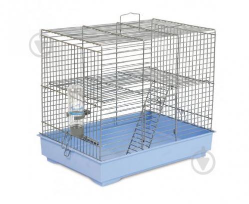 Клітка Природа для гризунів Міккі з драбинкою, хром/світло-блакитна - фото 1