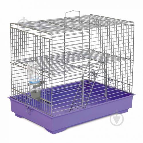 Клітка Природа для гризунів Міккі з драбинкою, хром/фіолетова - фото 1