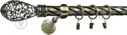 Карниз крученый Ажур Bella Vita одинарный укомплектованный d25 мм 160 см античная бронза