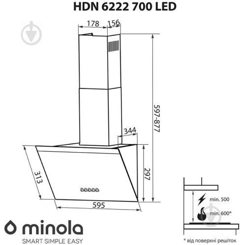 Витяжка Minola HDN 6222 WH/INOX 700 LED - фото 13