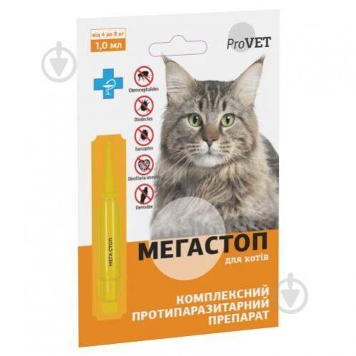 Краплі Природа на холку для кішок ProVET «Мега Стоп» від 4 до 8 кг PR241746 - фото 1
