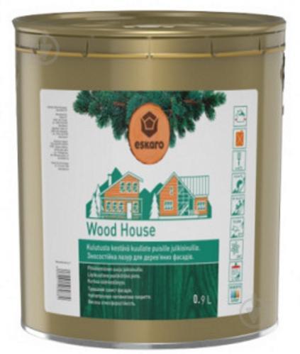 Лазурь Eskaro для деревянных фасадов Wood House полумат 0,9 л - фото 1