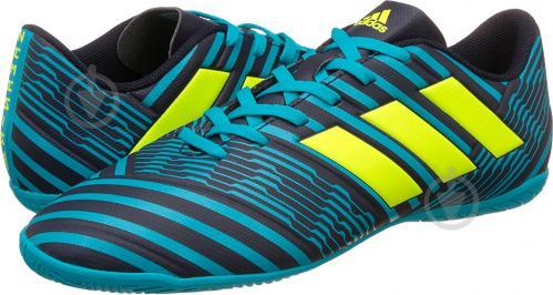Футбольные бутсы Adidas Nemeziz IN S82472 р. 10 черно-синий с зеленым - фото 5