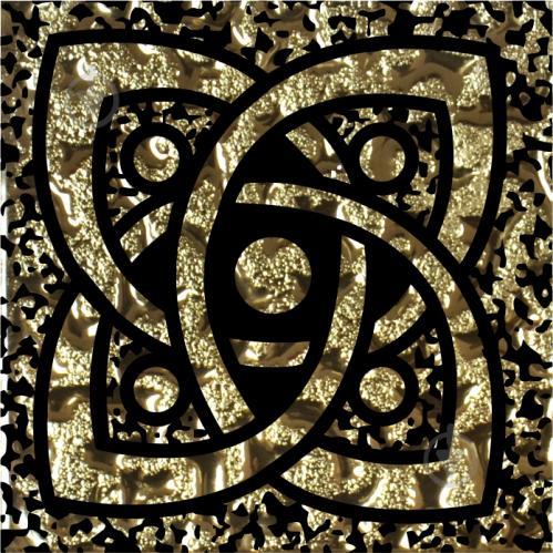 Плитка Grand Kerama Тако стекло Галактика золото рифленое 775 6,6x6,6 - фото 1