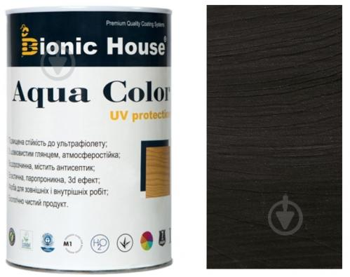 Лазурь Bionic House лессирующая универсальная Aqua Color UV protect черный шелковистый мат 0,8 л - фото 1
