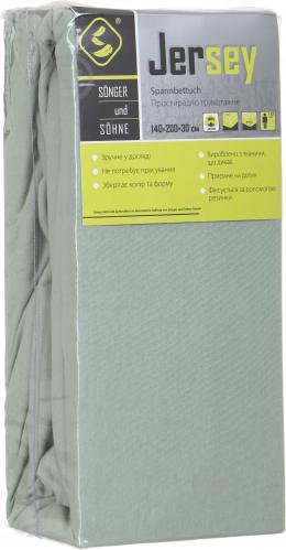 Простынь на резинке трикотажная 140x200 см светло-зеленый Songer und Sohne - фото 3