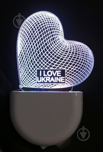 Нічник Aukes I love Ukraine 3D LED RGB 0.5 Вт білий - фото 1