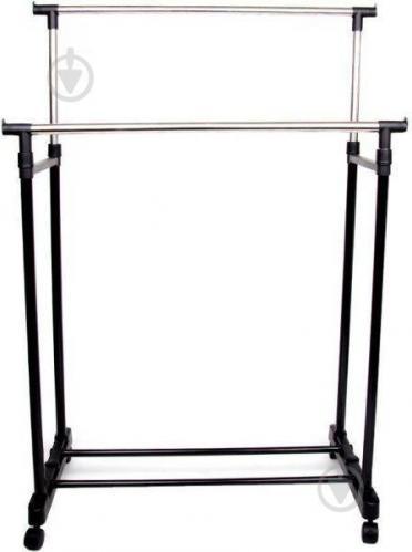 Телескопическая напольная вешалка-стойка для одежды Double-Pole Черный (258535)