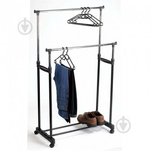 Телескопическая напольная вешалка-стойка для одежды Double-Pole Черный (258535) - фото 2