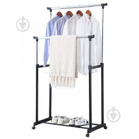Телескопическая напольная вешалка-стойка для одежды Double-Pole Черный (258535) - фото 6