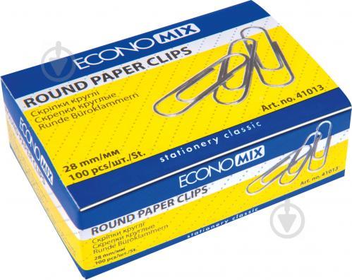 Скріпки 28 мм 100 шт. круглі нікельовані E41013 Economix - фото 1