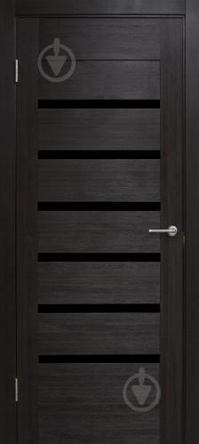 Дверне полотно ПВХ ОМіС Лагуна з чорним склом ПГО 700 мм венге