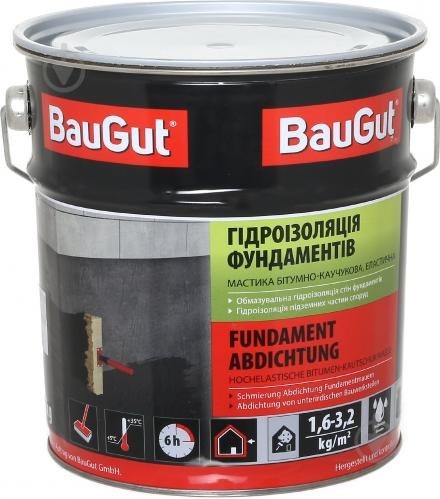 Мастика битумно-каучуковая BauGut гидроизоляция фундаментов 3,5 кг